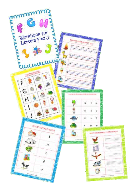 Printable F to J workbook