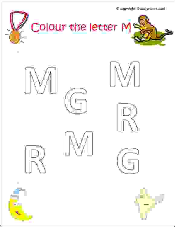 preschool english letters worksheets