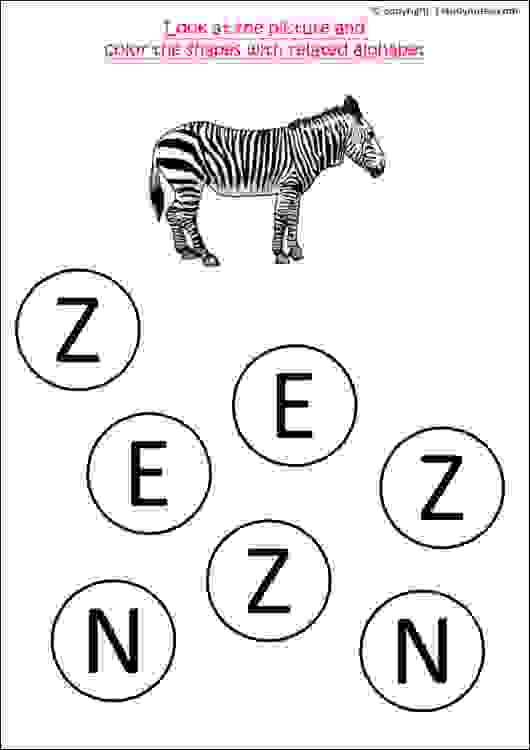 nursery class english letters worksheets