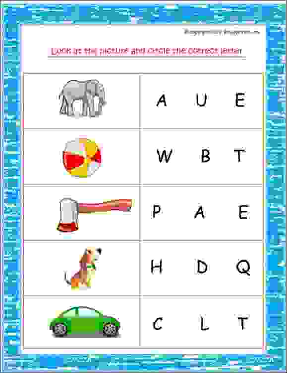 lower kg english worksheets
