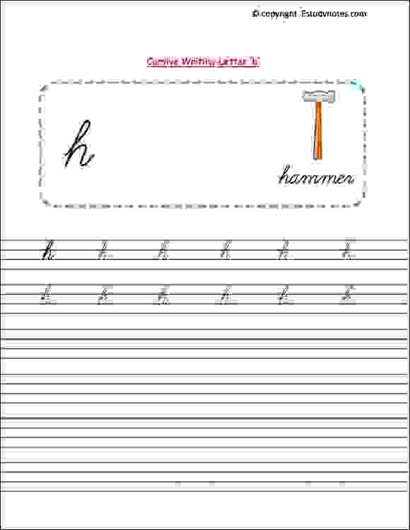 senior kg english cursive writing worksheets