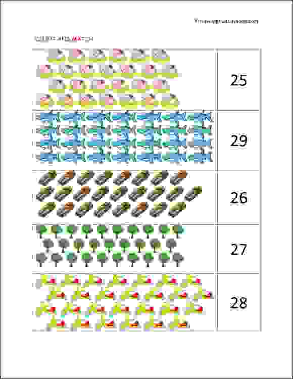 senior kg count and match worksheets