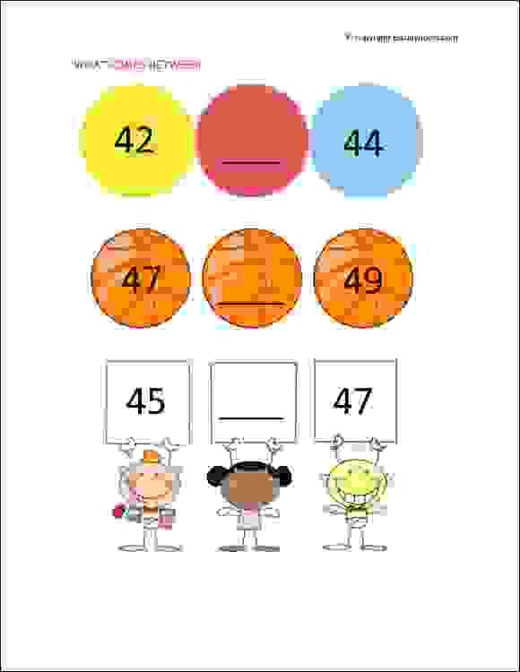 senior kg what comes between worksheets