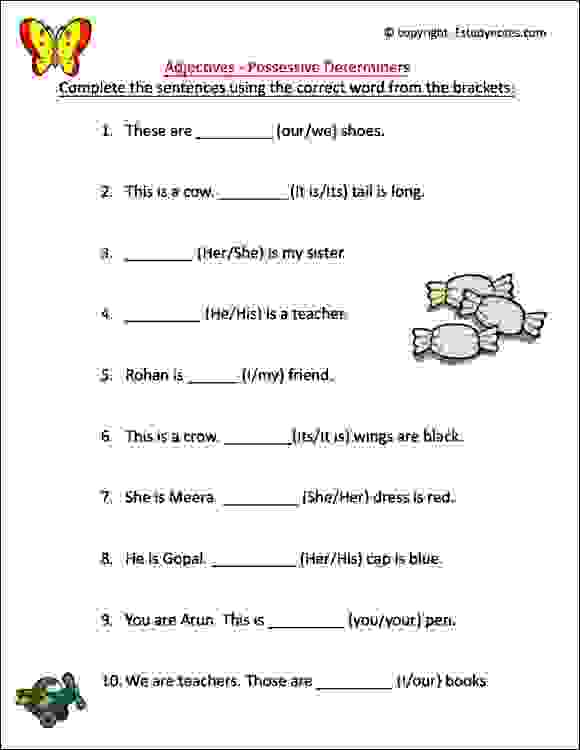 ÿclass 1 english grammar worksheets