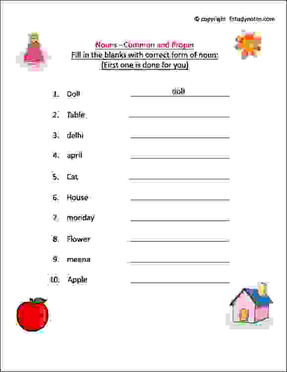 ÿnoun cbse english worksheets class 1