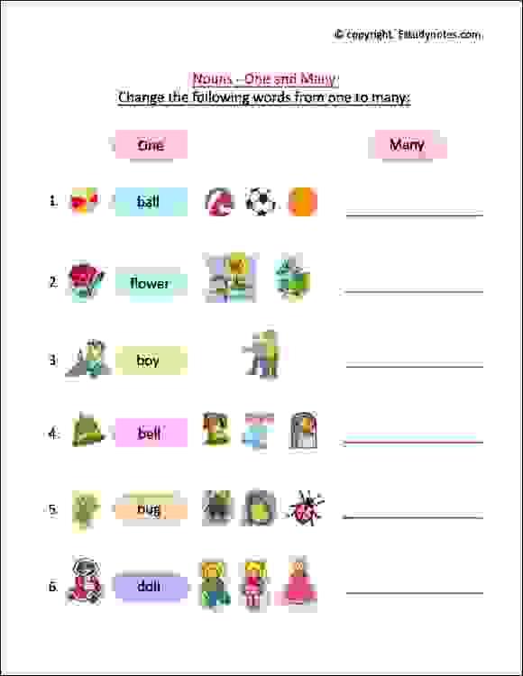 noun cbse english worksheets class 1