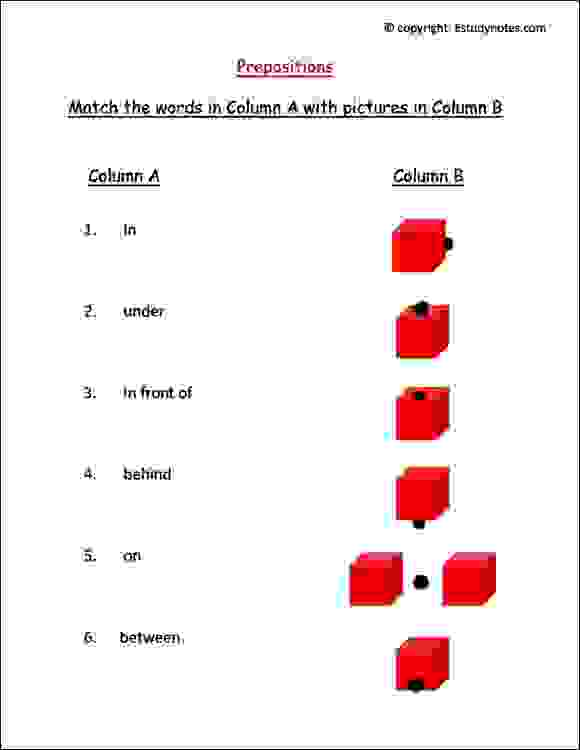 ÿpreposition worksheets with pictures