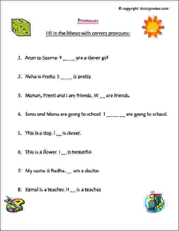 Pronoun Worksheet 1 Estudynotes