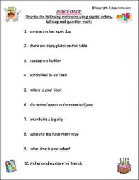 punctuation worksheet for class 1
