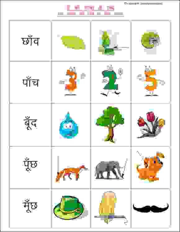 hindi chandrabindu ke shabd