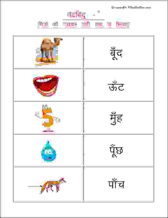 hindi chandrabindu worksheets for class 1