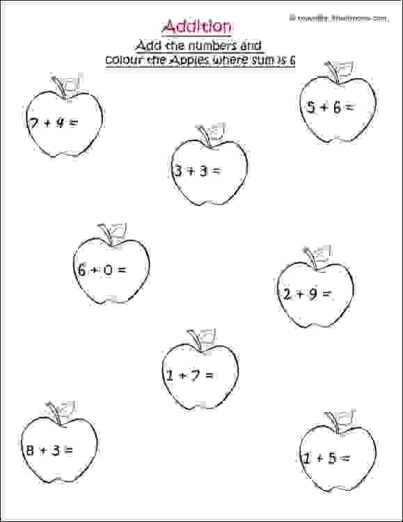 class 1 single digit addition worksheet