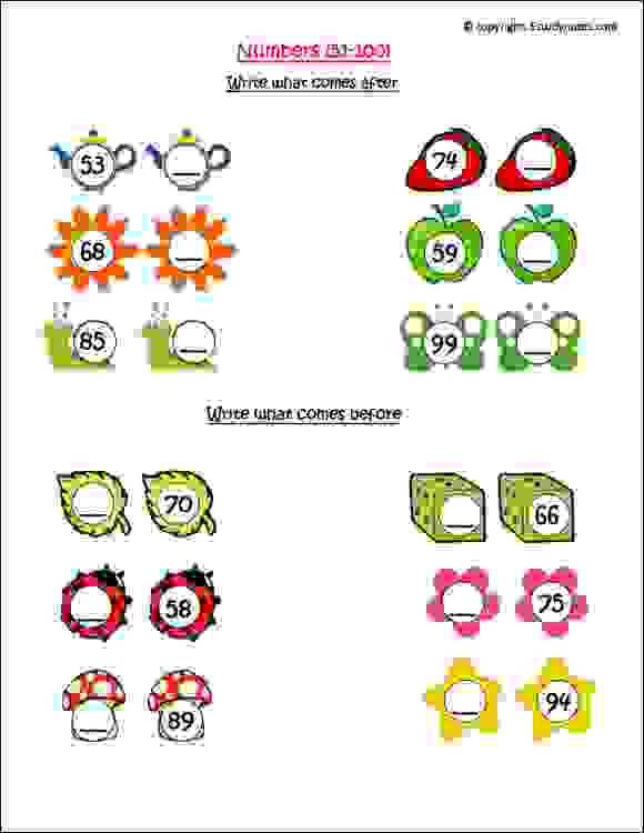 number sequence worksheets for class 1