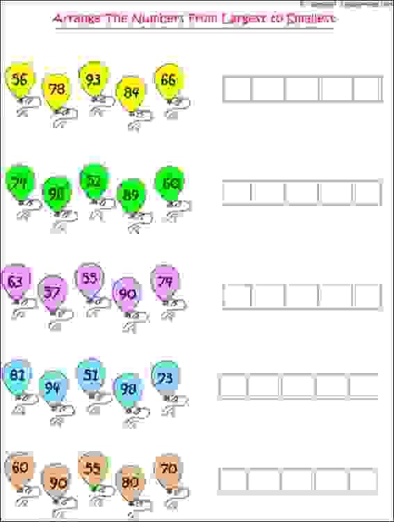 maths largest smallest number worksheets