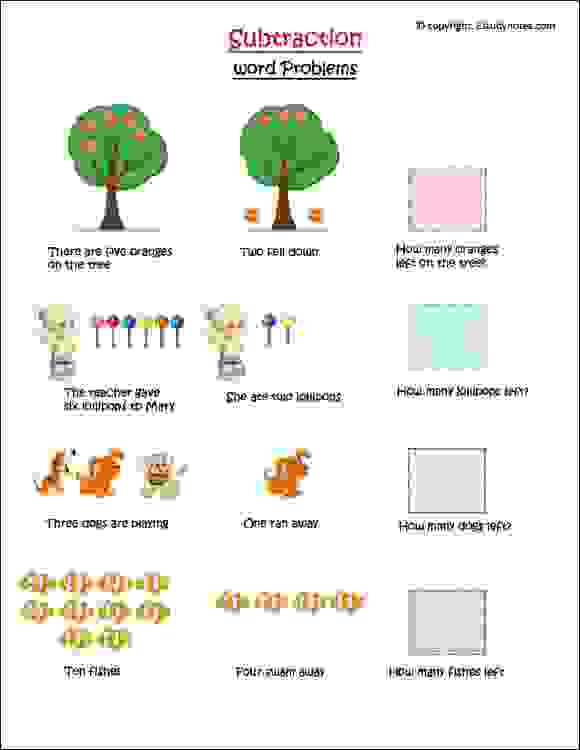 maths subtraction word problems for kids
