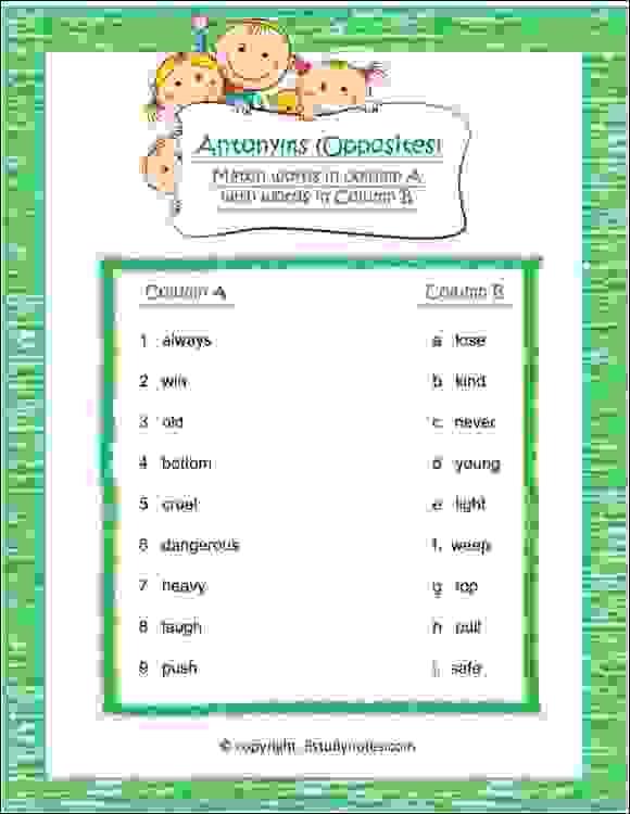 english vocabulary antonyms worksheet for class 2