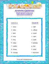 english grammar opposites worksheet for class 2