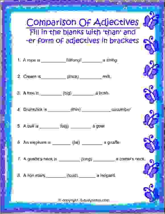 Parison Of Adjectives Worksheet For Grade 2 Estudynotes. Parison Of Adjectives Worksheet 3. Worksheet. Adjective Worksheets For Grade 5 At Mspartners.co
