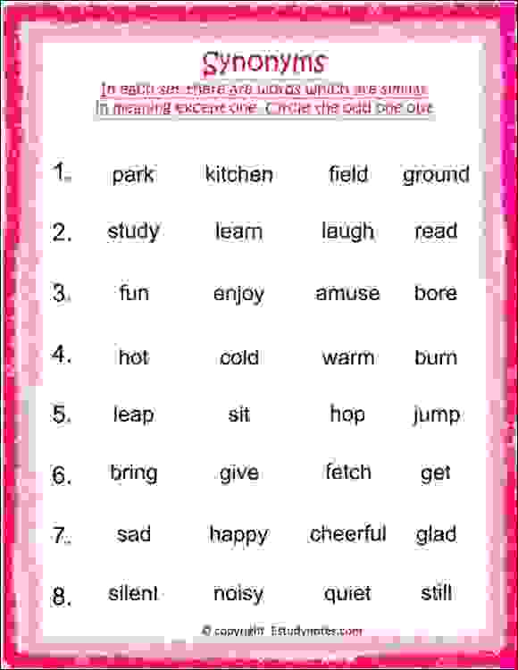 Odd One Out-Synonyms Worksheet 3 - EStudyNotes