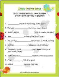 cbse english grammr tenses worksheet