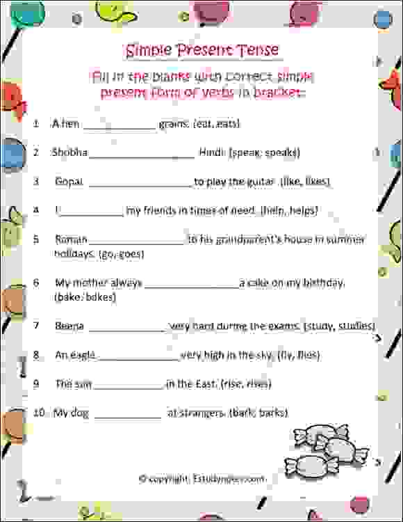 cbse english grammr tenses worksheet