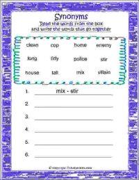 english synonym words worksheet class 2