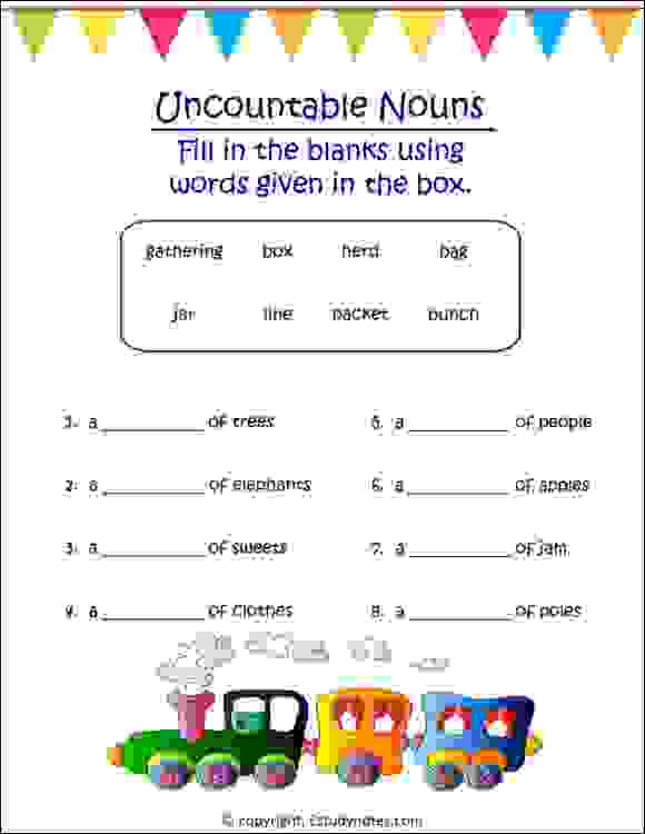 cbse english nouns worksheets for class 2