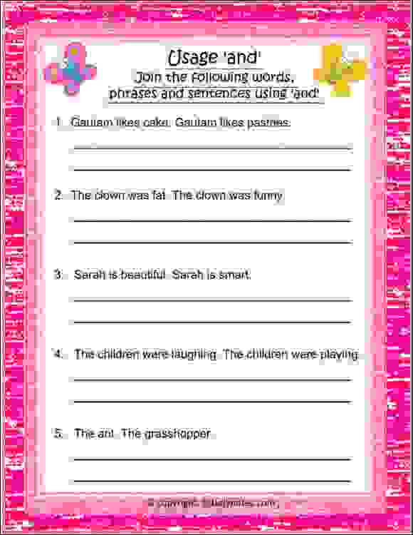 english conjunction and worksheets class 2