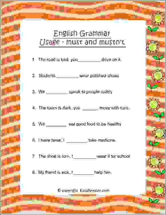 english usage must mustn't worksheet class 2