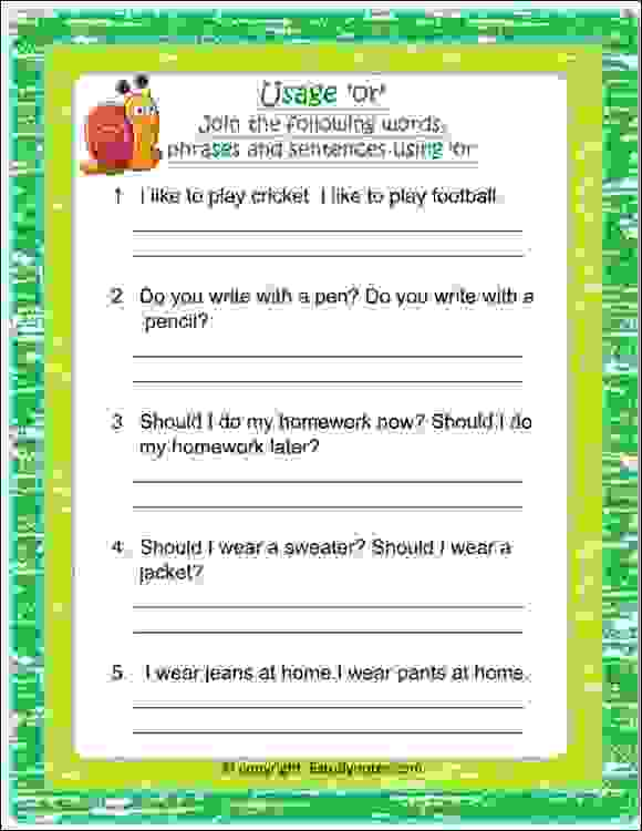 english conjunction or worksheets for class 2