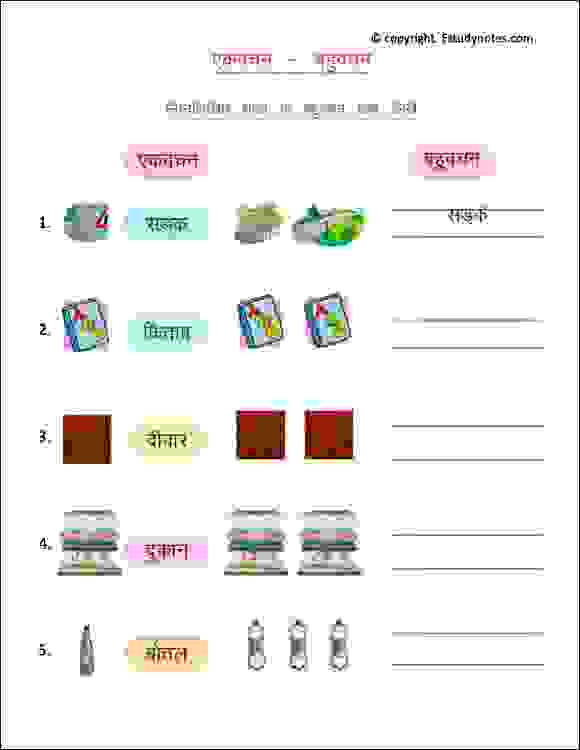 class 2 hindi plural worksheets
