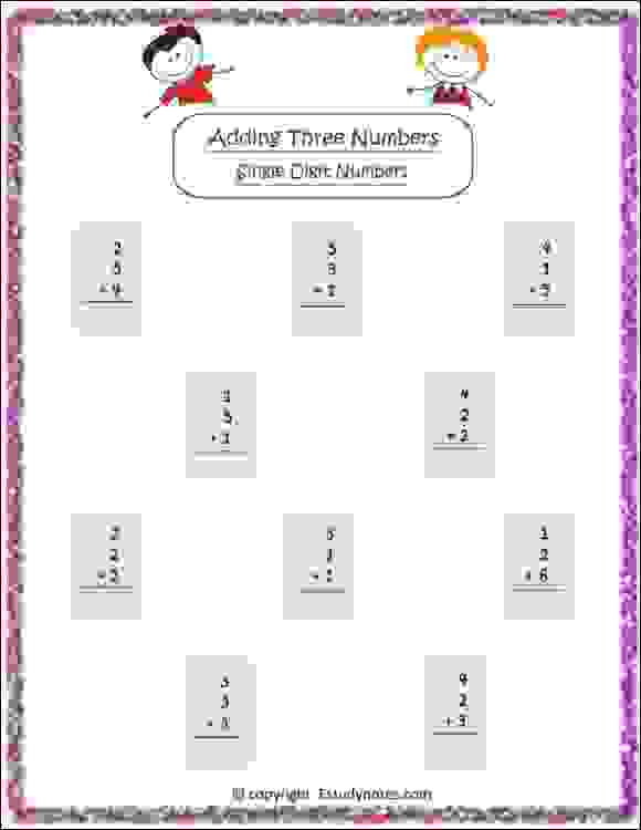 adding three numbers worksheet for class 2