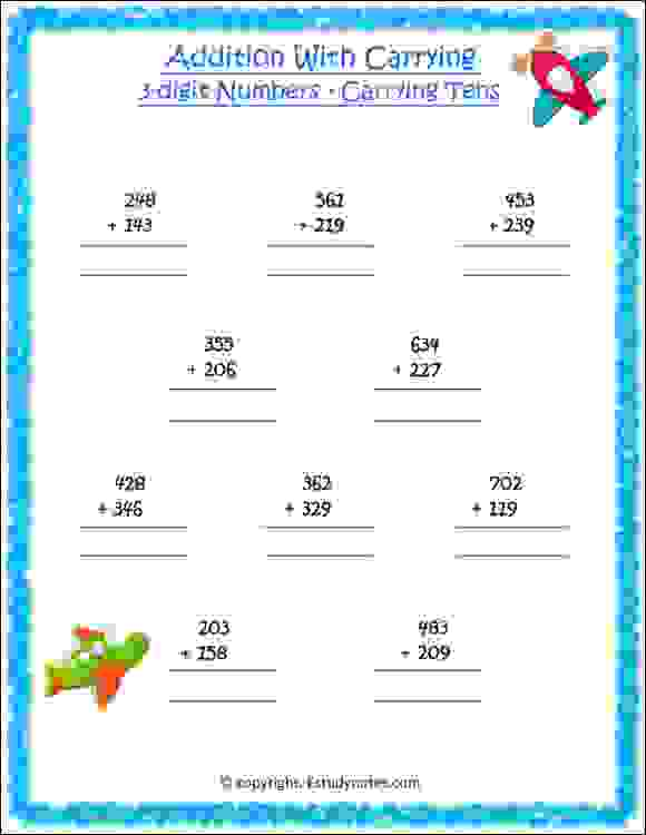 addition with carrying worksheets for class 2