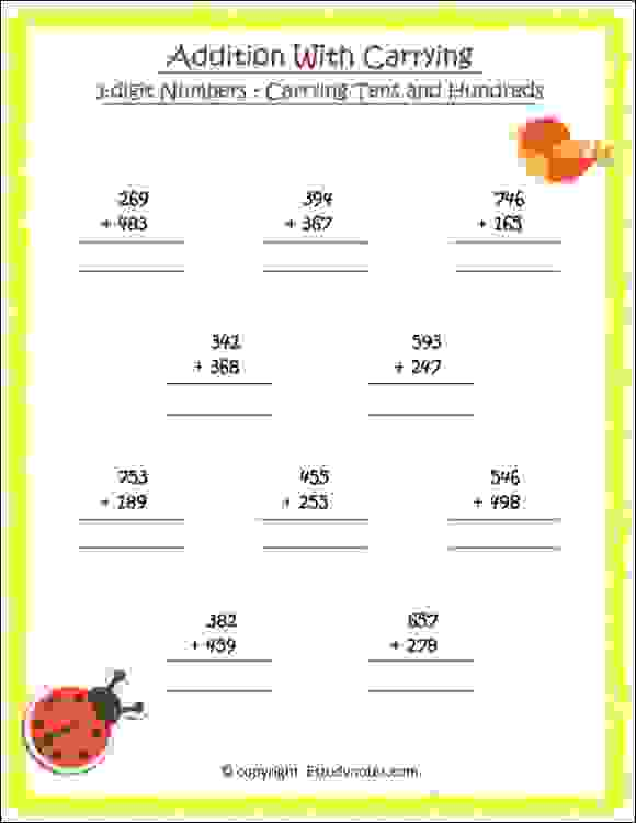 carrying tens and hundreds worksheets for class 2