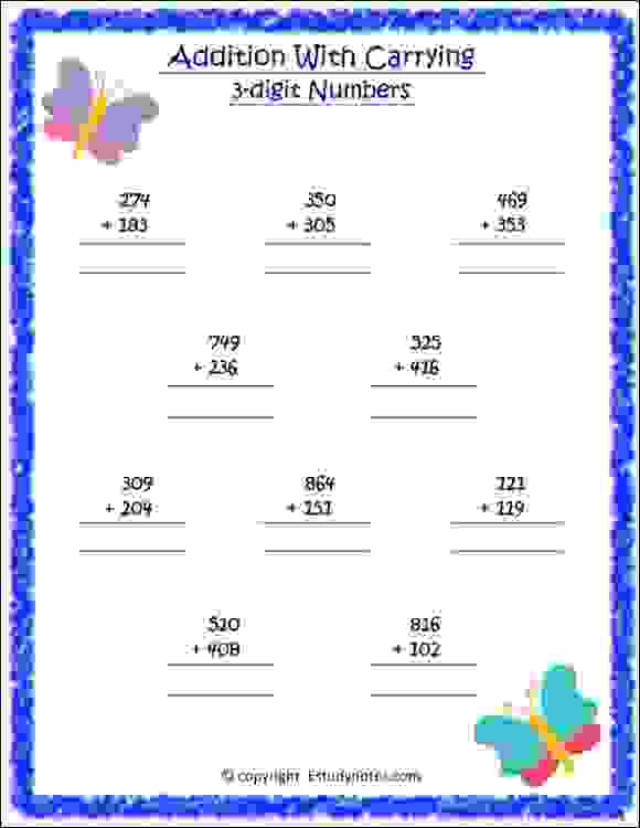 cbse maths addition worksheets for class 2