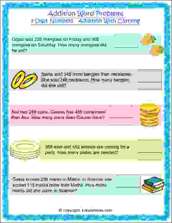 maths addition word problems for class 2