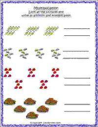 maths multiplication add in equal groups worksheet