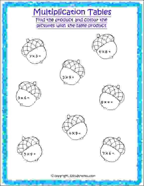 maths multiplication tables worksheets