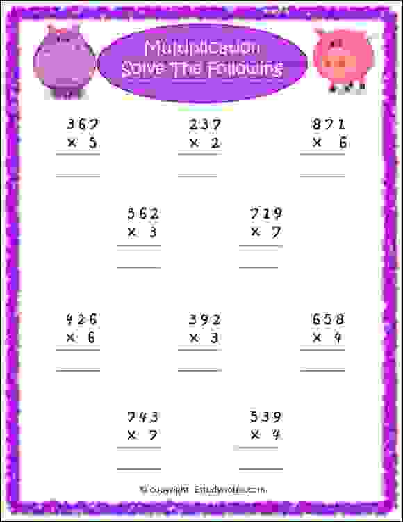 maths multiplication worksheets for class 2