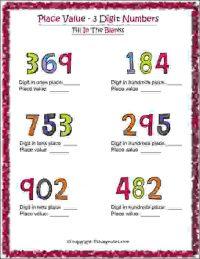 maths 3 digit number worksheets class 2