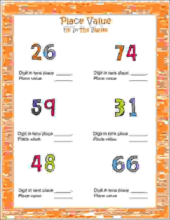 maths place value worksheets for class 2