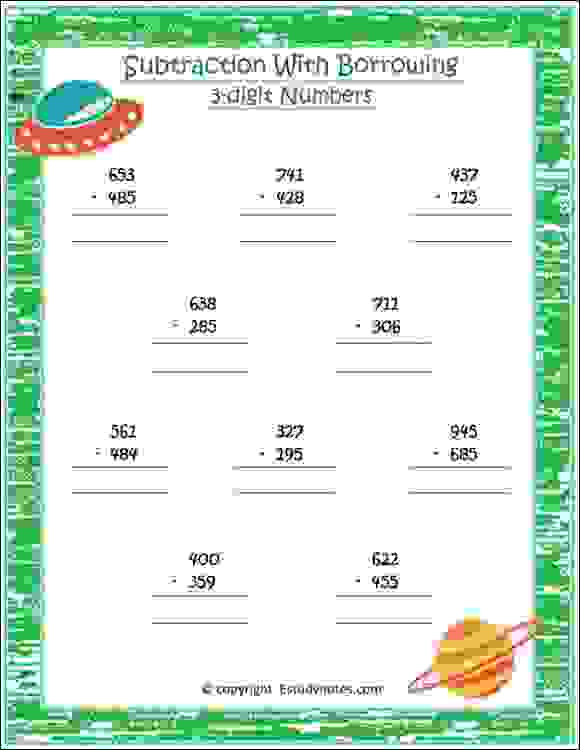 maths subtraction with borrowing class 2