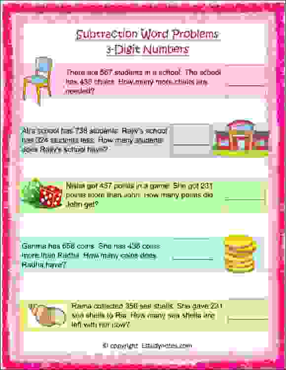 maths subtraction word problems for class 2