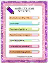 maths write in figures number worksheet