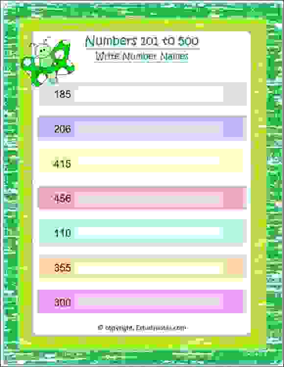 maths write number in words worksheet class 2