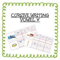 Senior KG Worksheet Cursive Writing Vowel e Words