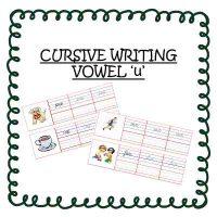 Upper KG English Worksheets Cursive Handwriting Vowel u