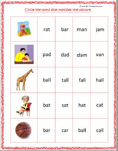 English activity worksheet for kindergarten