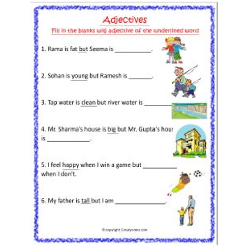 adjectives worksheet 9 grade 1 estudynotes. Black Bedroom Furniture Sets. Home Design Ideas