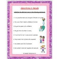 english grammar abstract noun worksheets for class 2